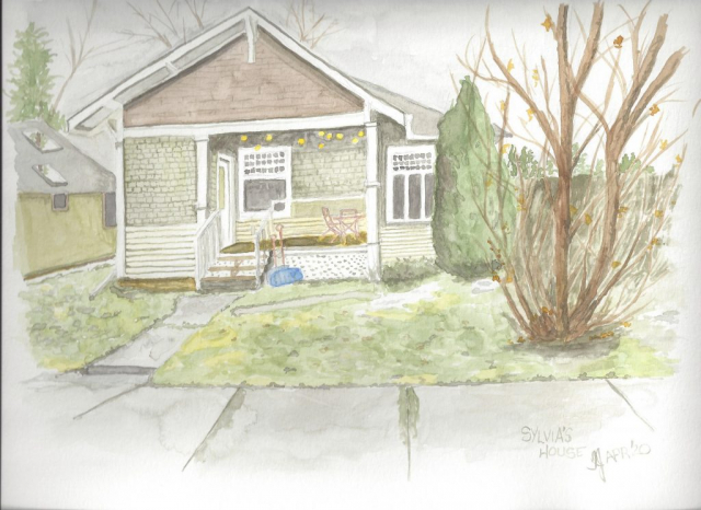 A watercolour of an older home in Calgary, Alberta