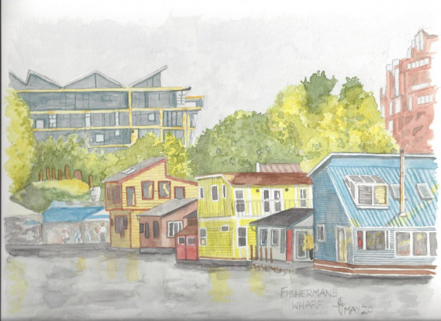 A watercolour of Fisherman's Wharf, Victoria BC
