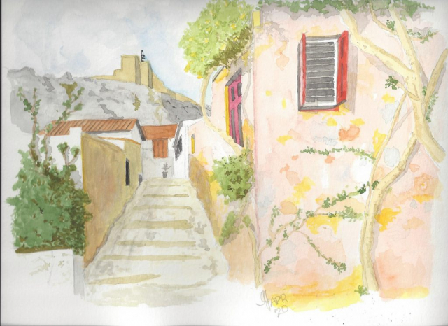 A watercolour of the Plaka District of Athens