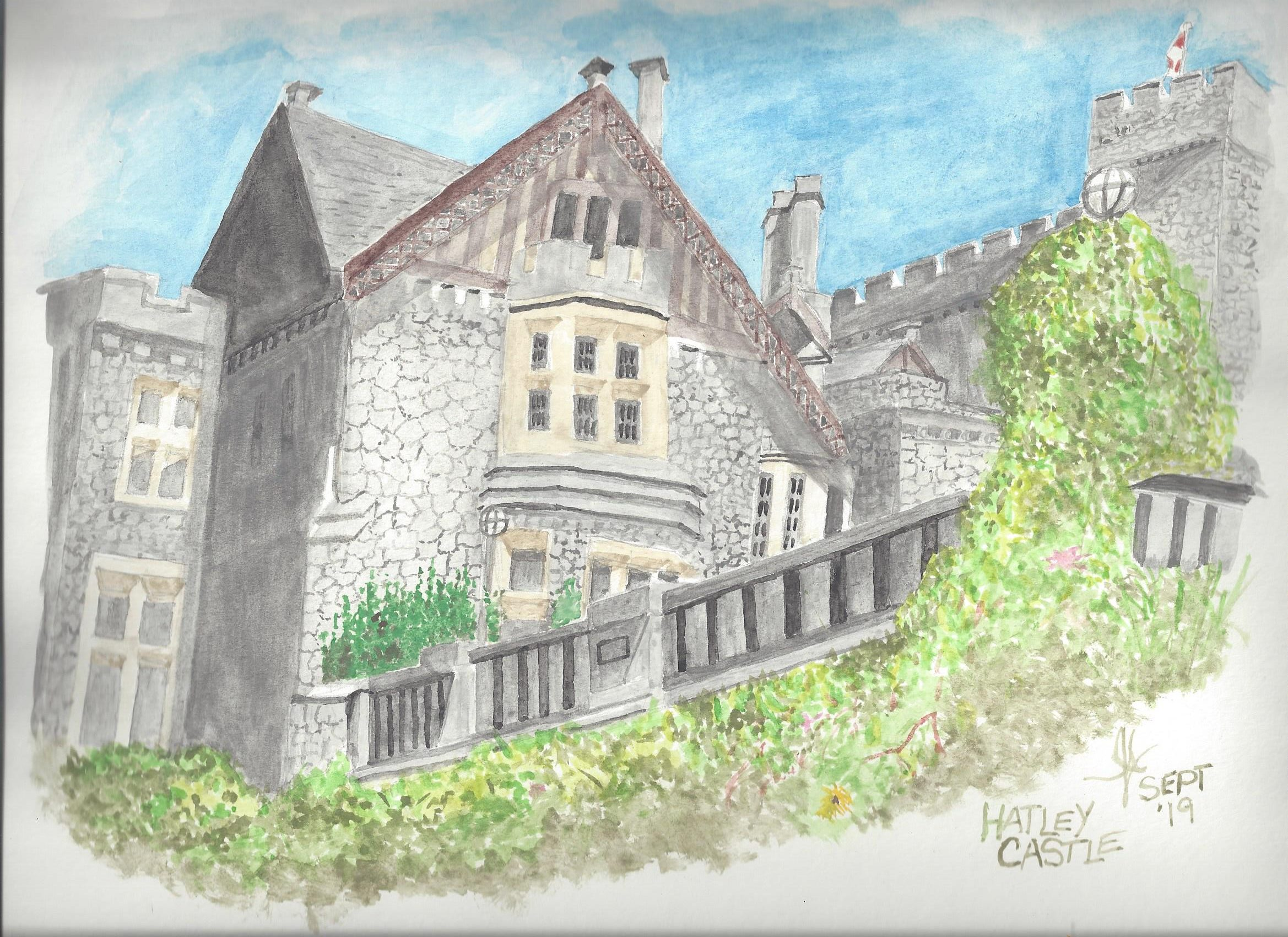 A watercolour of Hatley Castle, Victoria BC