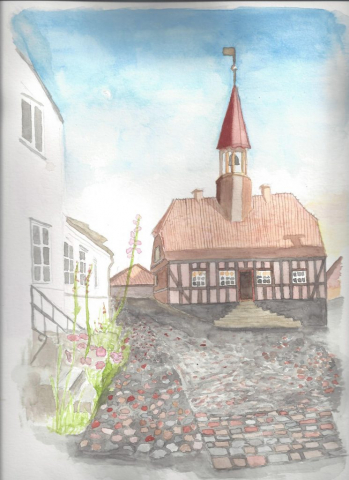 A watercolour of Ebeltoft, Denmark