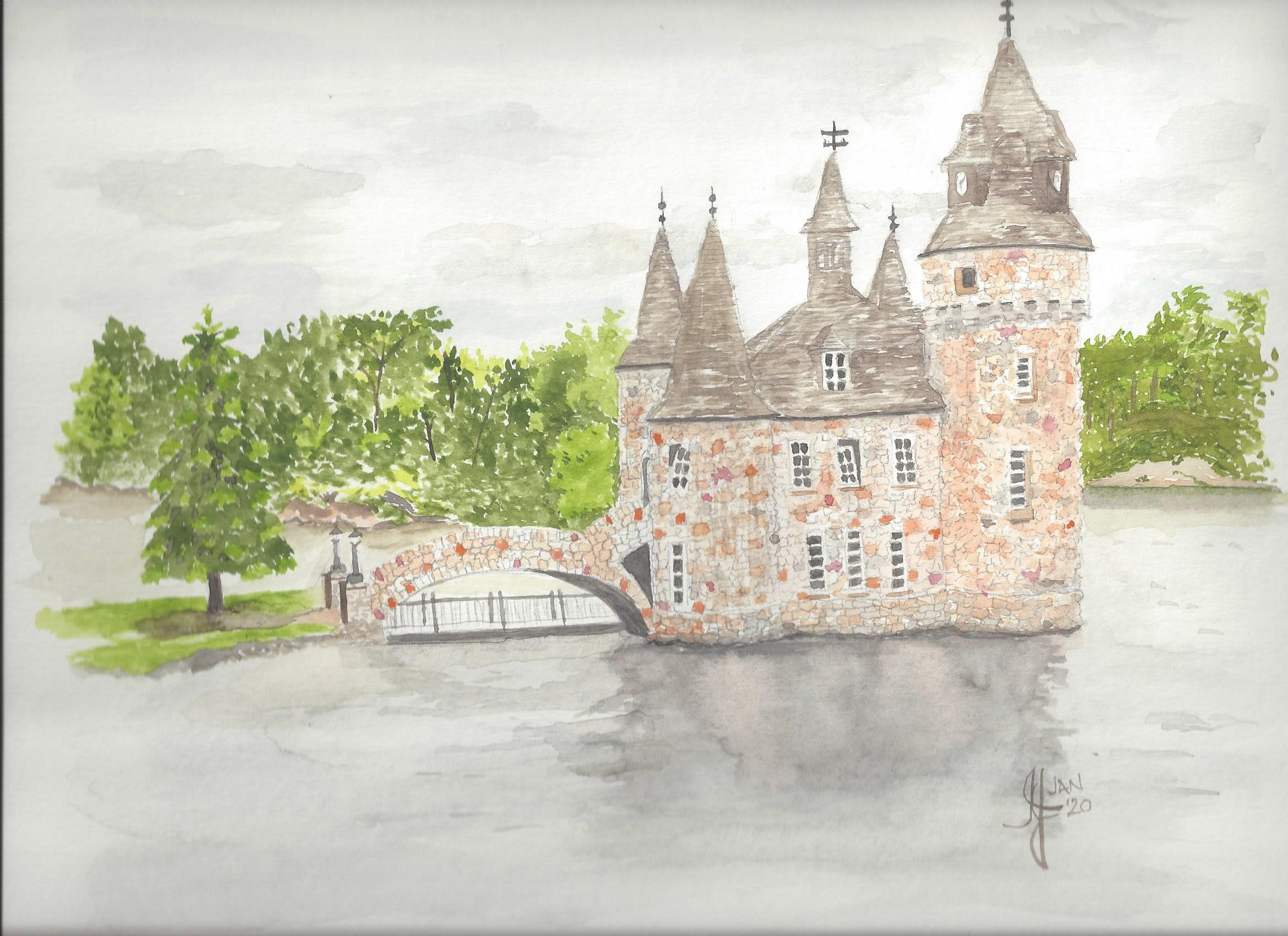 A watercolour of Boldt Castle in New York