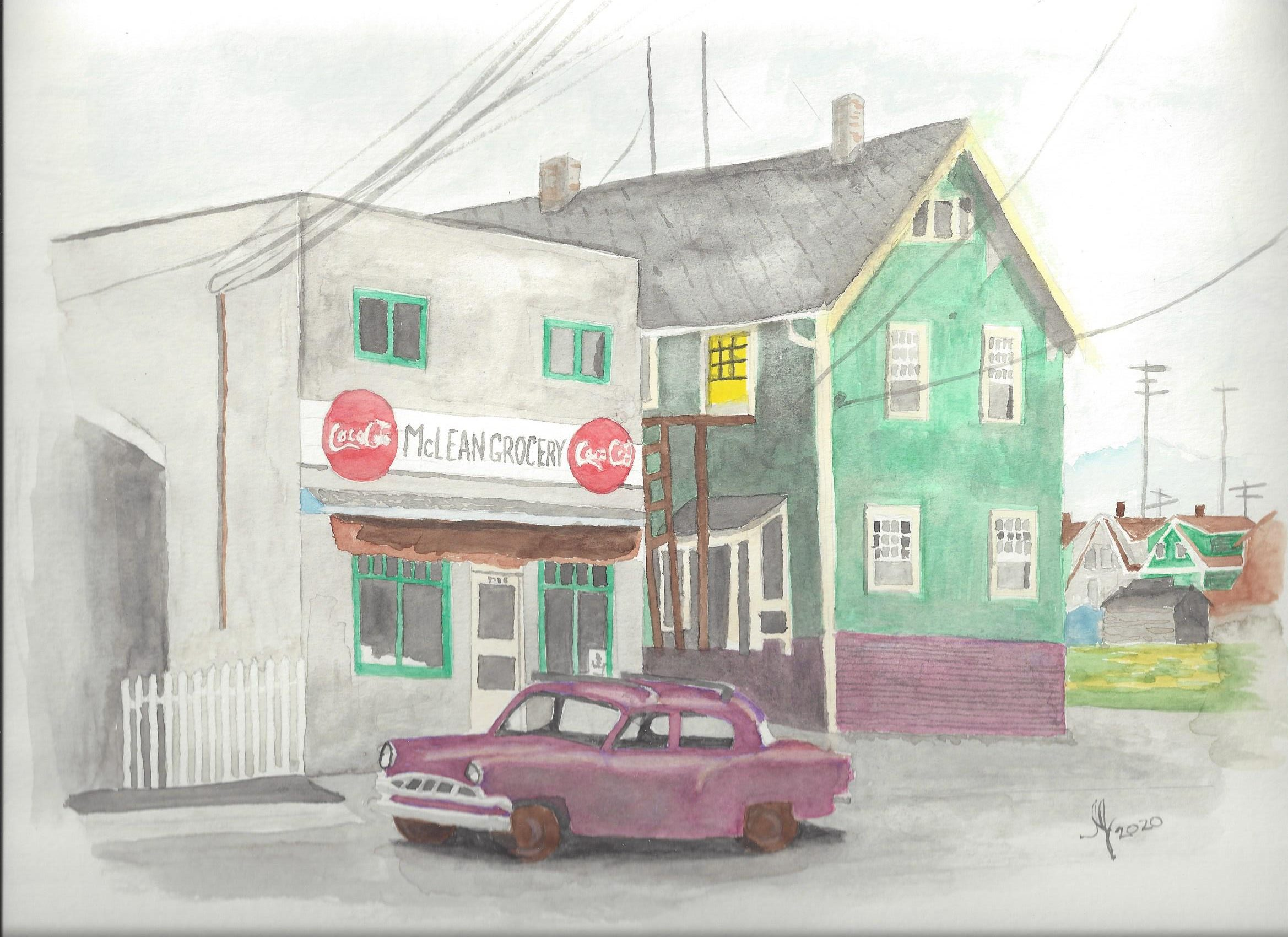 A watercolour of McLean Grocery, Vancouver, BC in the 60s