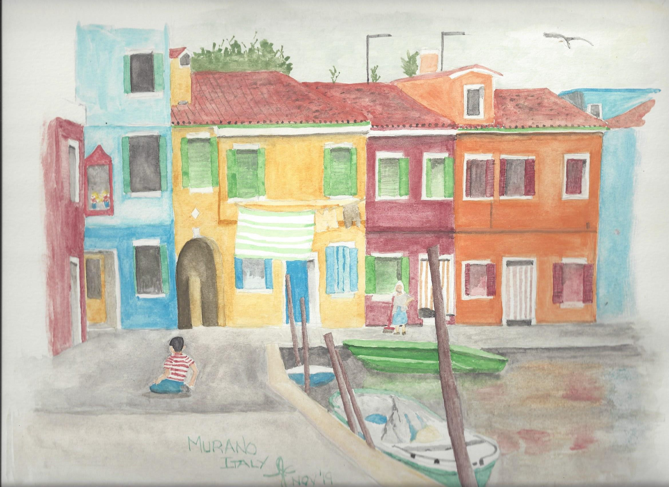 Water colour of Murano Italy