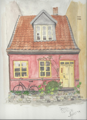 Water colour of a Danish cottage in Denmark