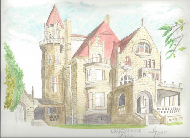 Water colour of Craigdarroch Castle, Victoria BC