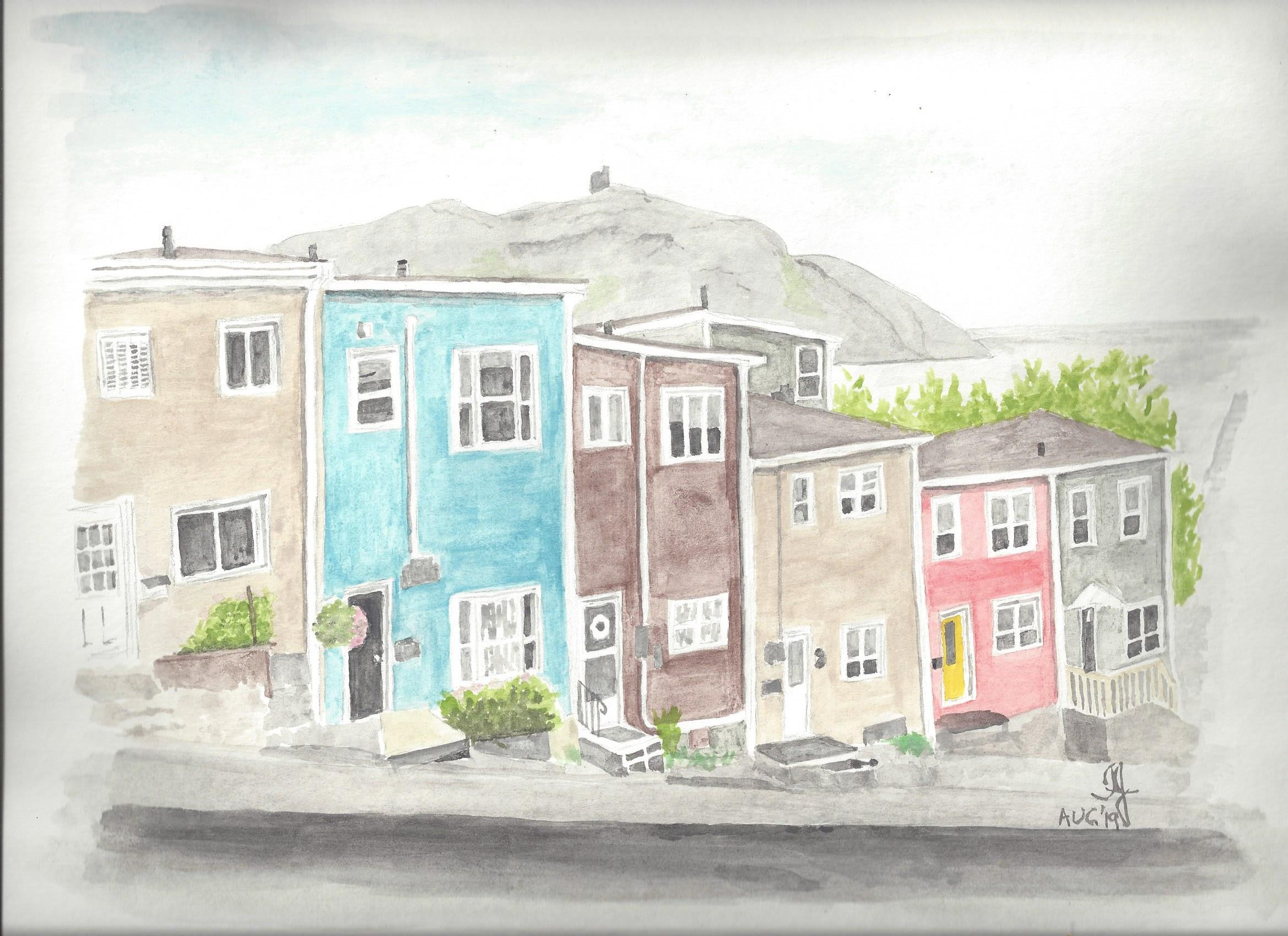 Water colour of Jelly Bean Row in Newfoundland