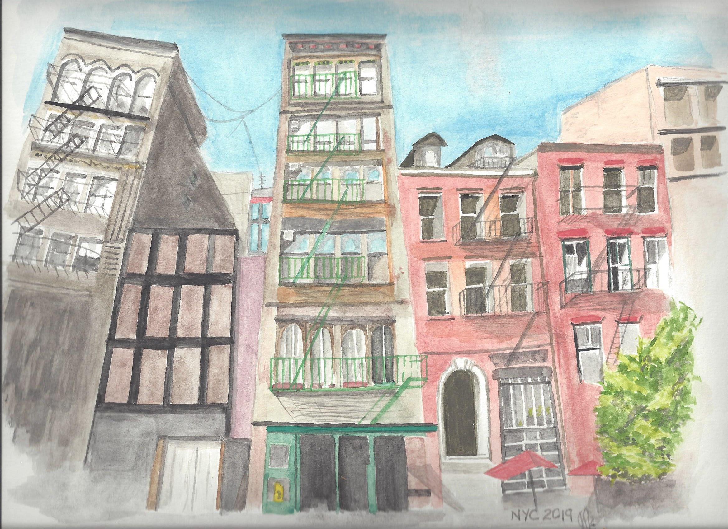 Water colour of buildings in New York City