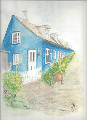 Water colour of a house in Aarhus, Denmark